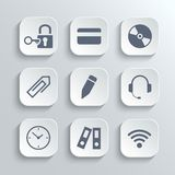 Office icons set - vector white app buttons Stock Image