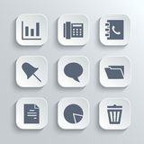 Office icons set - vector white app buttons. Web icons set - vector white app buttons with diagram fax phonebook pin speech bubble document chart trash can and Stock Photos
