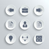 Office icons set - vector white round buttons. With left right arrows document copy man avatar lamp team network calculator Royalty Free Stock Image