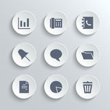 Office icons set - vector white round buttons. Web icons set - vector white round buttons with diagram fax phonebook pin speech bubble document chart trash can Royalty Free Stock Photos