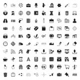 Office 100 icons set for web. Flat stock illustration