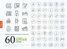 60 office icons Royalty Free Stock Photos