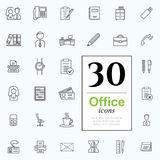 30 office icons. Set of office icons for web or services. 30 line icons high quality, vector illustration Stock Photos