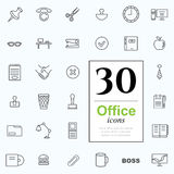 30 office icons. Set of office icons for web or services. 30 line icons high quality, vector illustration Stock Photography