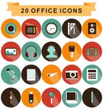 Office icons shadow Royalty Free Stock Photography