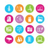 Office icons. Stationery and office icons in colorful round buttons Stock Photos
