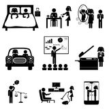 Office icons with sticks. Office daily routine life of married couple (man and woman sticks). Vector icons set  on white Royalty Free Stock Photo