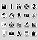 Office icons on stikers Stock Photos