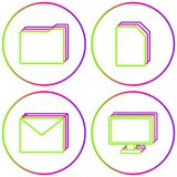 Office Icons Vector Color Circle Web Set royalty free illustration
