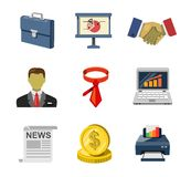 Office icons. Vector color office icons set on white Royalty Free Stock Photos