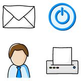 Office icons. Vector illustrations of various office icons stock illustration
