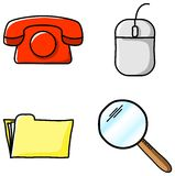 Office icons. Vector illustrations of various office icons royalty free illustration