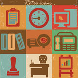 Office icons,vintage style Stock Image