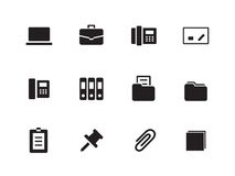 Office icons on white background. Vector illustration Royalty Free Stock Images