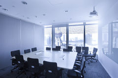 Luxury Office indoor against background of  Oriental pearl tower Royalty Free Stock Photo