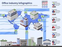 Office Industry Infographics. With business buildings world map and charts vector illustration vector illustration