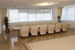 Office interior 1. Interior view of elegant office conference table Stock Photo