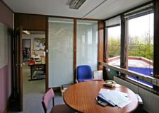 Office Interior. Interior of small office looking out royalty free stock photo