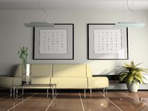 Office interior. With beige sofa 3D rendering royalty free stock photography