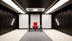 Office interior 3d. Office interior with red chair and table 3d