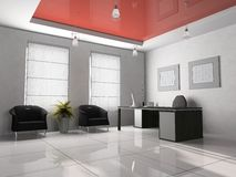 Office interior 3D. Office interior with table and two armchairs 3D rendering royalty free stock photos