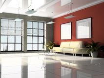 Office interior 3D rendering. Office interior 3D red rendering royalty free illustration