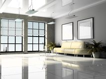 Office interior 3D rendering. Office interior white 3D rendering stock photography