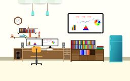Office interior analyze share graph financial business with two compute screen on the table flat design cartoon vector illustratio. N Royalty Free Stock Photos