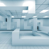 Office interior with chaotic geometric installation, 3 d. Abstract blue empty office room interior with chaotic geometric installation, 3d illustration Stock Images