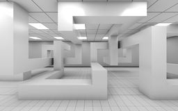 Office interior with chaotic geometric installation, 3d Royalty Free Stock Photography