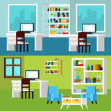 Office Interior Compositions Banners. Horizontal banners of office interior compositions presenting workplaces with computers and relaxing space orthogonal Stock Photos