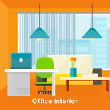 Office Interior Concept Vector In Flat Design. Royalty Free Stock Images