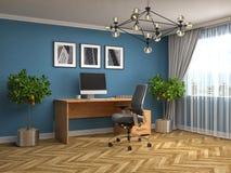 Office interior. 3D illustration. Blue Royalty Free Stock Image