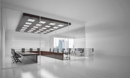 Office interior design in whire color and rays of light from win Stock Image