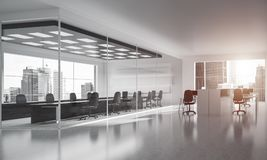 Office interior design in whire color and rays of light from win Stock Images