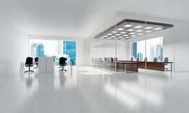Office interior design in whire color and rays of light from window Stock Photography