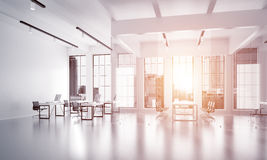 Office interior design in whire color and rays of light from window Royalty Free Stock Photos