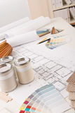 Office of interior designer with paint Stock Photo