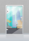 Office Interior Through Glass Door Flat Vector Royalty Free Stock Photo