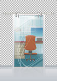 Office Interior Through Glass Door Flat Vector Royalty Free Stock Photography