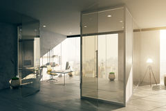 Office interior with glass door Stock Image