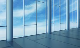 Office interior with glass wall Stock Images