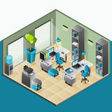 Office Interior Isometric Design Stock Image