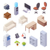Office Interior Isometric Elements. Isolated isometric elements of office interior with desk cooler chairs computer sofa printer book shelves 3d vector Royalty Free Stock Images
