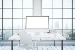 Office interior with mockup computer Stock Photo
