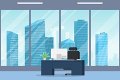 Modern city office interior. Office interior modern flat vector illustration. Business table with computer monitor and leather chair. Big window with skyscrapers stock illustration