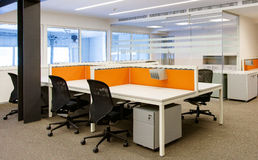 Office interior and office chairs and tables Stock Image