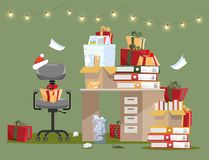 Office interior with pile of gifts on table with documents in folders and boxes. Piles of documents are near to mountains of gifts royalty free illustration