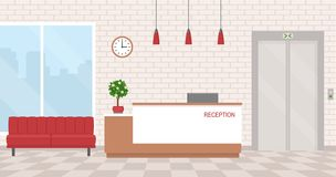 Office interior with reception and waiting area. Stock Photos