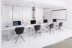Office interior with a row of chairs, long table and computers. 3d illustration stock illustration